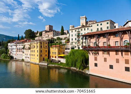 view of the romantic village Basano del Grappa over the river Br Stock photo © meinzahn