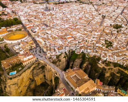 Híd festői kilátás város Malaga felhők Stock fotó © amok