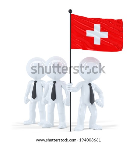business team holding flag of swiss isolated contains clipping path stock photo © kirill_m