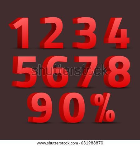 Número vetor vermelho ícone web projeto teia Foto stock © rizwanali3d