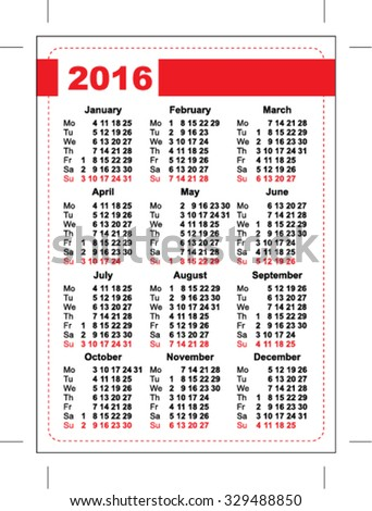 2016 pocket calendar. Template grid. Vertical orientation of days of week Stock photo © orensila