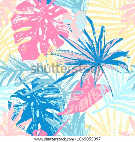 Monstera silhouettes seamless pattern. Vector illustration. Tropical leaves. Stock photo © gladiolus