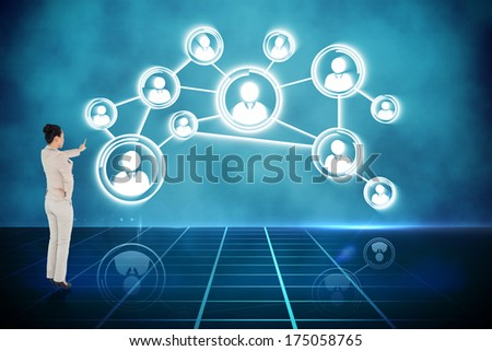 composite image of rear view of businesswoman with fingers cross stock photo © wavebreak_media