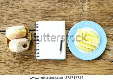 Jahrgang Notebook Rezept hausgemachte Donuts Stock foto © stevanovicigor