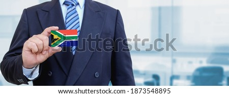 Credit card with South Africa flag background for bank, presentations and business. Isolated on whit Stock photo © tkacchuk