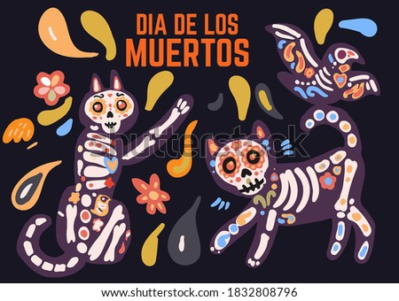 Day of Dead painted skull. Dia de Muertos translated from Spanish Stock photo © orensila