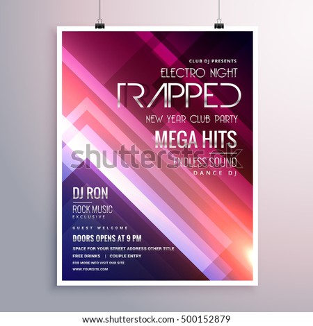 amazing shiny lights music flyer template with abstract stripes  Stock photo © SArts