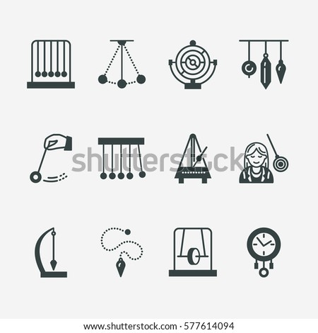 vector line icon of pendulum types newton cradle metronome table pendulum perpetuum mobile gyro stock photo © nadiinko