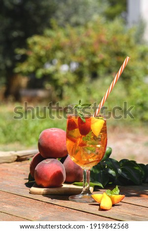 homemade lemonade with ripe peaches and fresh mint fresh peach stock photo © yatsenko