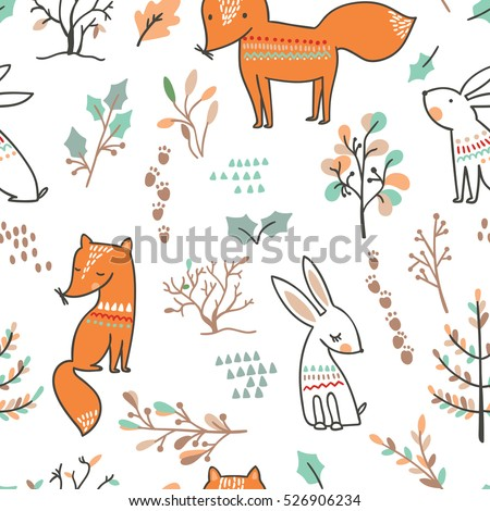 Forest seamless pattern. Park  ornament. Trees and squirrels bac Stock photo © MaryValery