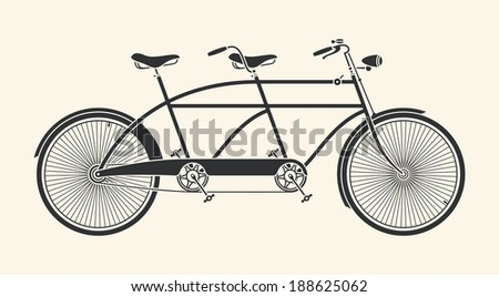Vintage silhouette tandem bicycle icon isolated on white backgro Stock photo © NikoDzhi