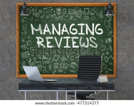 Stock photo: Managing Reviews on Chalkboard with Doodle Icons. 3D Illustration.