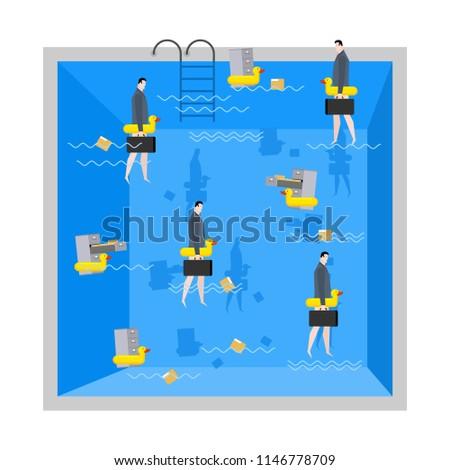 бизнесмен бассейна корпоративного компания плаванию Сток-фото © MaryValery