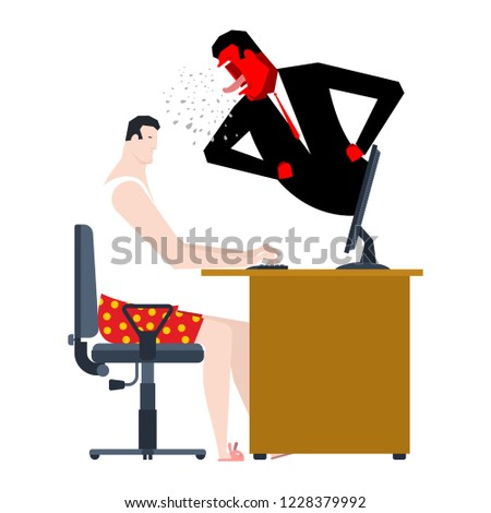 angry boss screams at freelancer. Monitoring of remote work. Vec Stock photo © MaryValery
