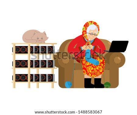 Mining farm and Grandmother. Cryptocurrency at home. Granny Extr Stock photo © popaukropa