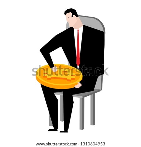 Businessman bunch of bitcoins. Lot of crypto currency is profit. Stock photo © MaryValery