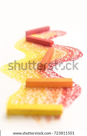 Close up of gradient made of bright pastel crayon chalks over th Stock photo © deandrobot
