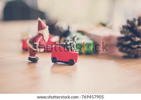 Santa Claus Wheelbarrow and gifts. Xmas grounds trolley. Christm Stock photo © popaukropa