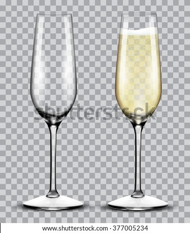 Transparent champagne glass flute vector illustration. Realistic set of glasses with sparkling wine Stock photo © Iaroslava