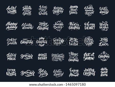 Set of Marry Christmas and Happy New Year banner on dark background with snowflakes. Vector illustra Stock photo © Leo_Edition
