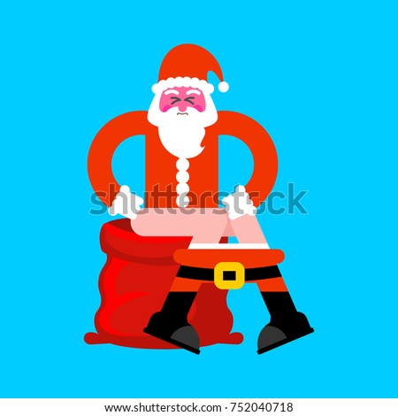 santa on toilet red bag bad christmas grandfather is in wc xma stock photo © maryvalery