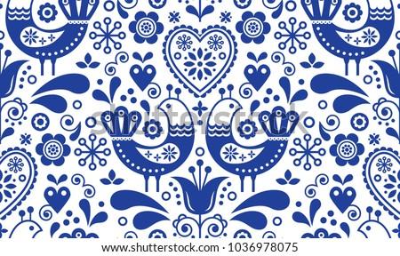 Finnish inspired seamless vector folk art pattern - Scandinavian, Nordic style with flowers and anim Stock photo © RedKoala