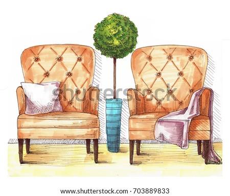 Twee stoelen kussen deken heldere Stockfoto © Arkadivna