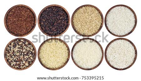 Rijst granen plaat geïsoleerd gezonde voeding ontbijt Stockfoto © MaryValery