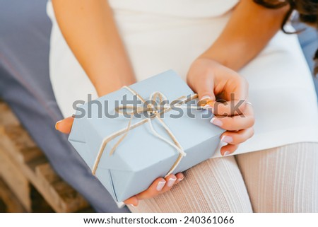 Santa girl from open gift box. Congratulations and Surprise. Chr Stock photo © popaukropa