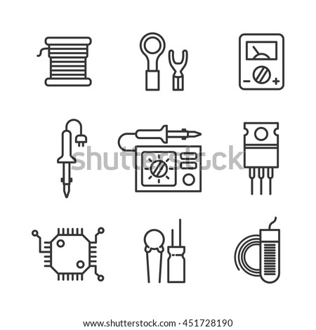 electronic and radio components from thin line vector illustration stock photo © kup1984