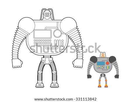 Cyborg Warrior coloring book. Man machine from outer space. Mech Stock photo © popaukropa