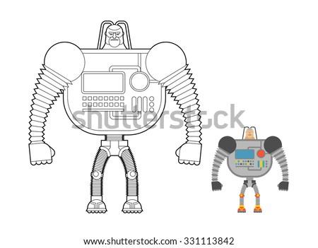 mavi · oyuncak · bağbozumu · robot · ayarlamak · beyaz - stok fotoğraf © popaukropa