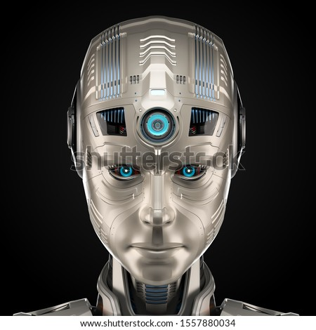 Man with head of robot. Cyborg Android. Mechanical head man. Bod Stock photo © popaukropa