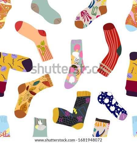 colorful socks seamless pattern vector accessory clothing backg stock photo © popaukropa