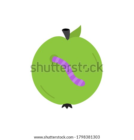 Rotten Green Apple Fruit With Leaf Cartoon Drawing Simple Design Stock photo © hittoon