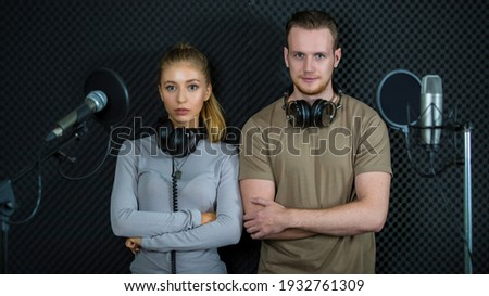 microphone with stand against cheerful young friends talking selfie at nightclub stock photo © wavebreak_media