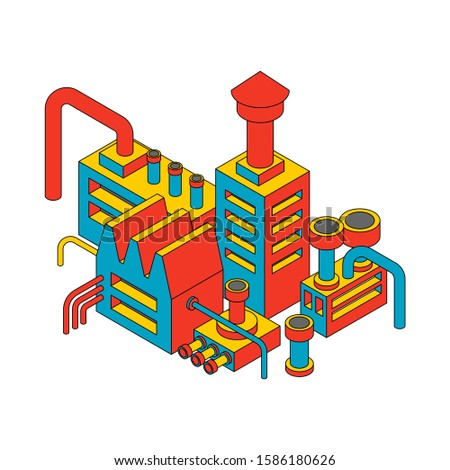 Foto stock: Planta · industrial · isométrica · fábrica · isolado