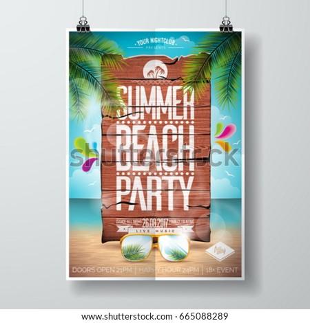 vektor · nyár · tengerpart · buli · szórólap · terv - stock fotó © articular