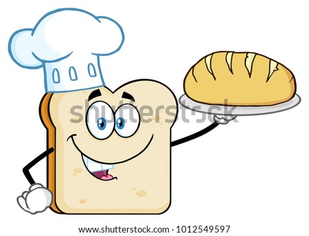 Baker Bread Slice Cartoon Mascot Character With Chef Hat Holding A Rolling Pin Stock photo © hittoon