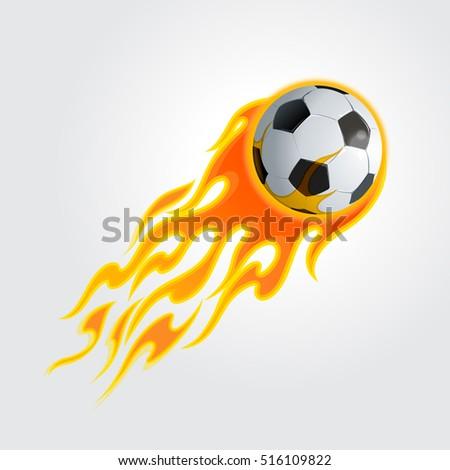 огненный футбольным мячом изолированный Flying футбола мяча Сток-фото © popaukropa