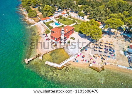 city of zadar puntamika lighthouse and beach aerial summer view stock photo © xbrchx