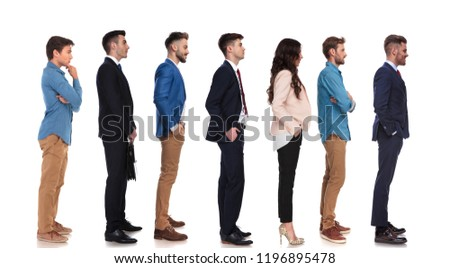 group of seven people with different reactions waiting in line Stock photo © feedough