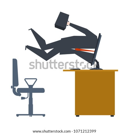 Businessman inside computer. Computer absorbed man. Vector illus Stock photo © MaryValery