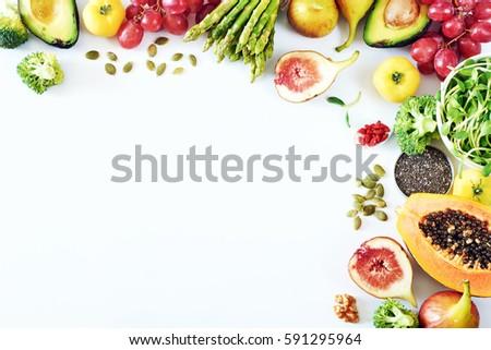 Stock fotó: Friss · zöld · zöldségek · gyümölcsök · válogatás · rozsdás