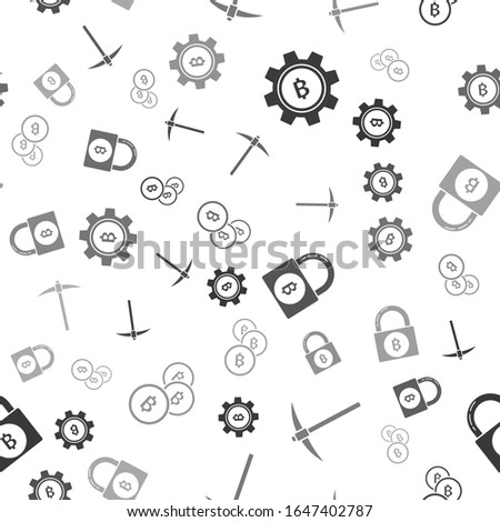 Crypto Mining concept seamless pattern, pickaxe and bitcoin wallpaper, crypto concept. Digital asset Stock photo © JeksonGraphics