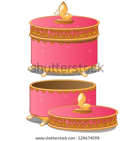 Set of closed and opened round ornate gift boxes with lids pink color isolated on white background.  stock photo © Lady-Luck