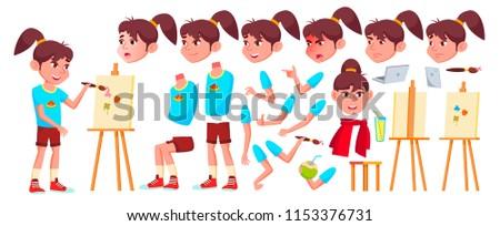 Girl Schoolgirl Kid Vector. High School Child. Animation Creation Set. Face Emotions, Gestures. Scho Stock photo © pikepicture