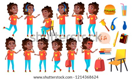 Girl Schoolgirl Kid Poses Set Vector. Black. Afro American. High School Child. Young People, Face, C Stock photo © pikepicture