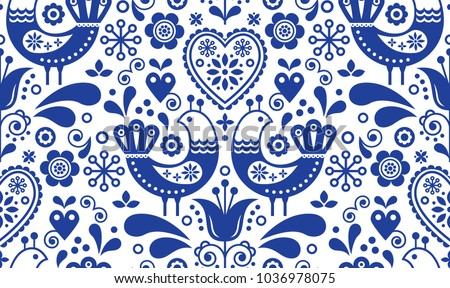 Seamless folk art vector pattern with birds and flowers, Scandinavian or Nordic black and white repe Stock photo © RedKoala