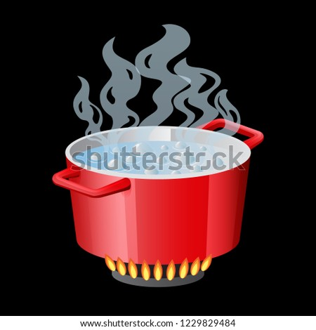 Stock photo: Red pan, saucepan, pot, casserole, cooker, stewpan with boiling water and closed pan lid vector isol
